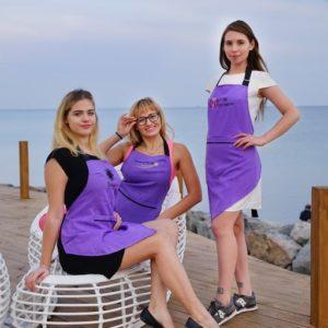 Фартук косметолога Enova Фиолетовый+салатовый углом