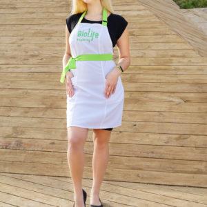 Фартук косметолога biolife Белый+зеленый два кармана